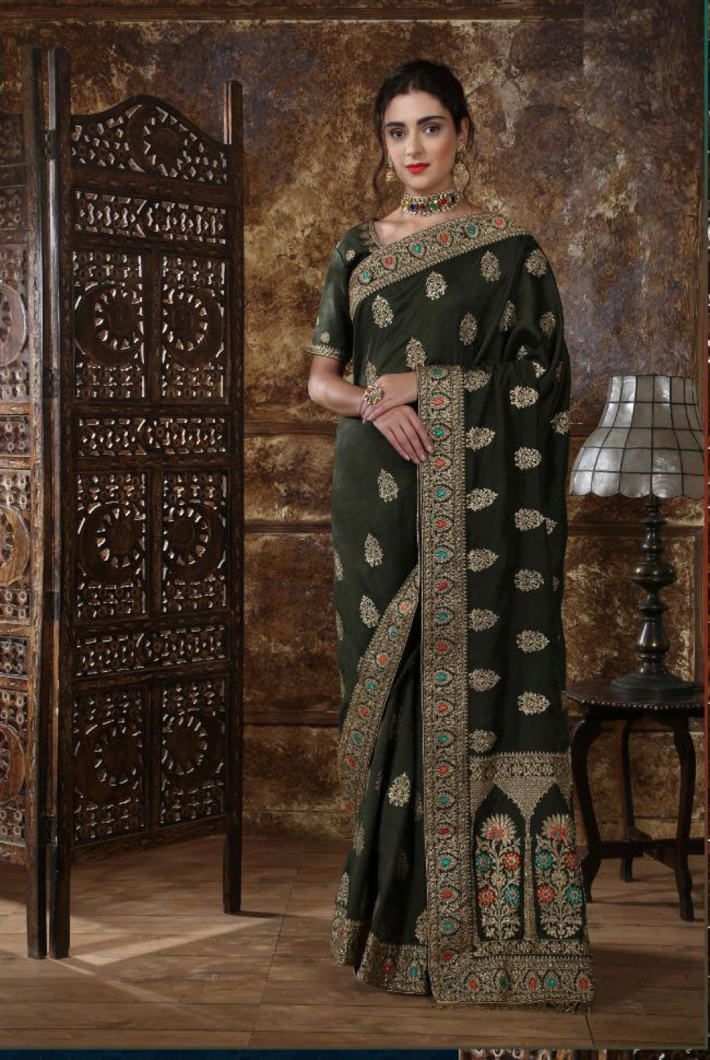 Flaunt Olive Green Colour Casual Wear Indian Silk Saree