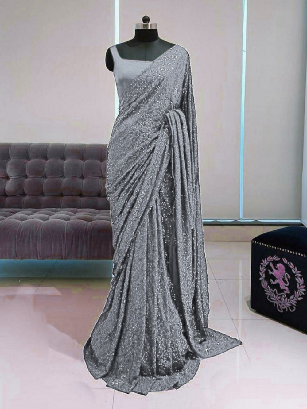 Breathtaking Grey Colour Georgette Saree