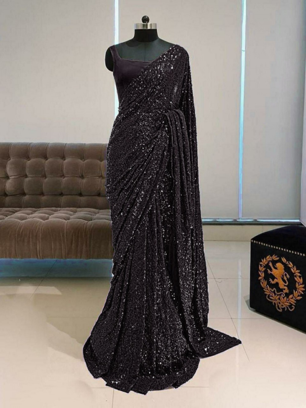 Captivating Festival Wear Black Colour Sequence Saree