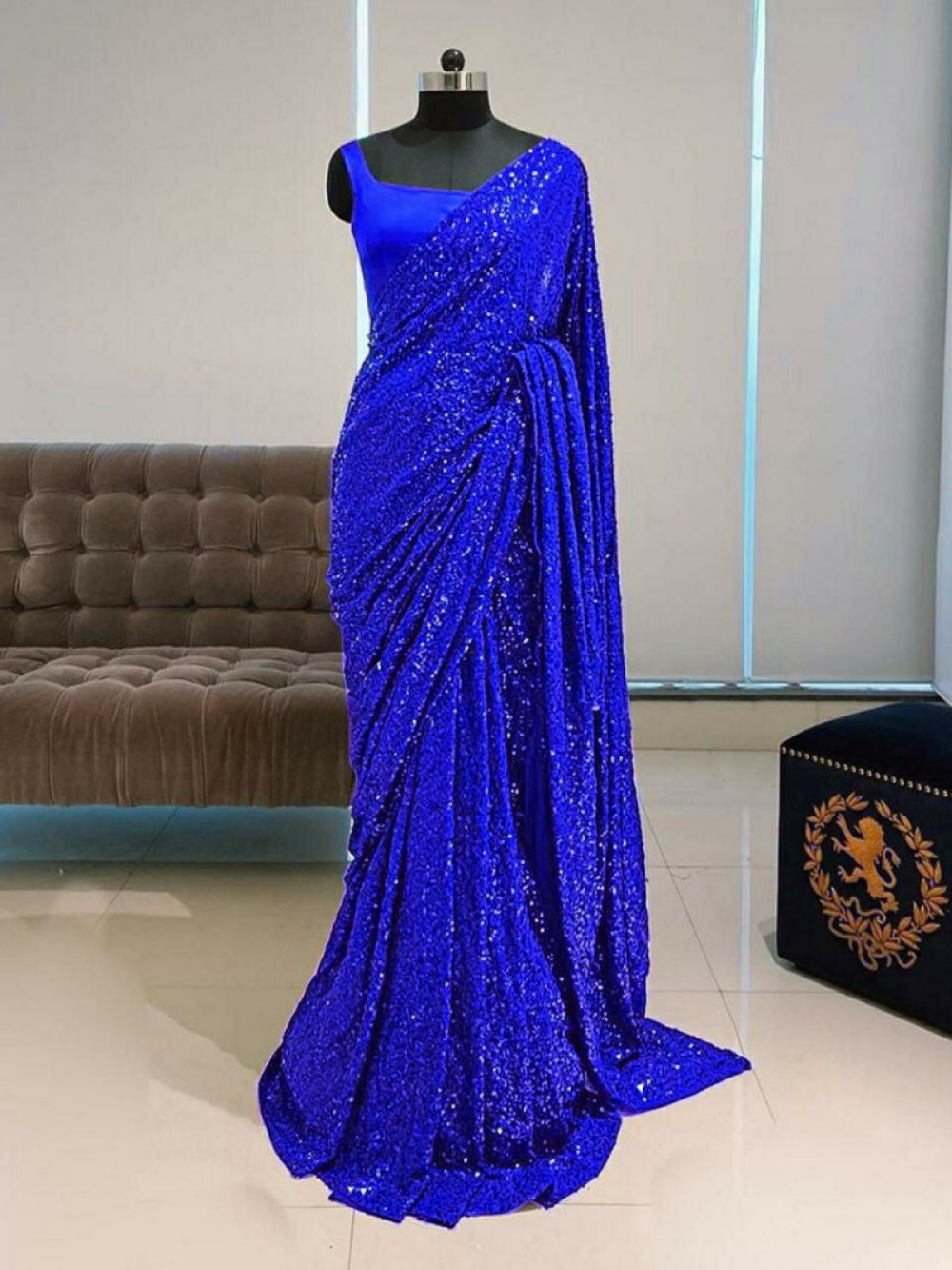 Celebrity Wear Fancy Blue Colour Sequence Worked Saree