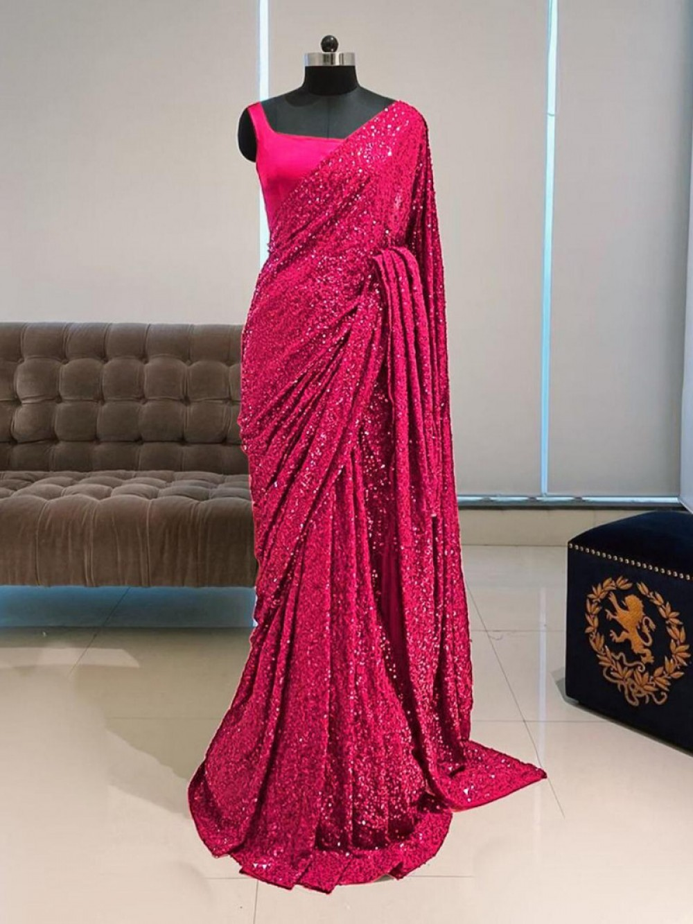 Charming Pink Colour Sequence Worked Saree For Festival Wear