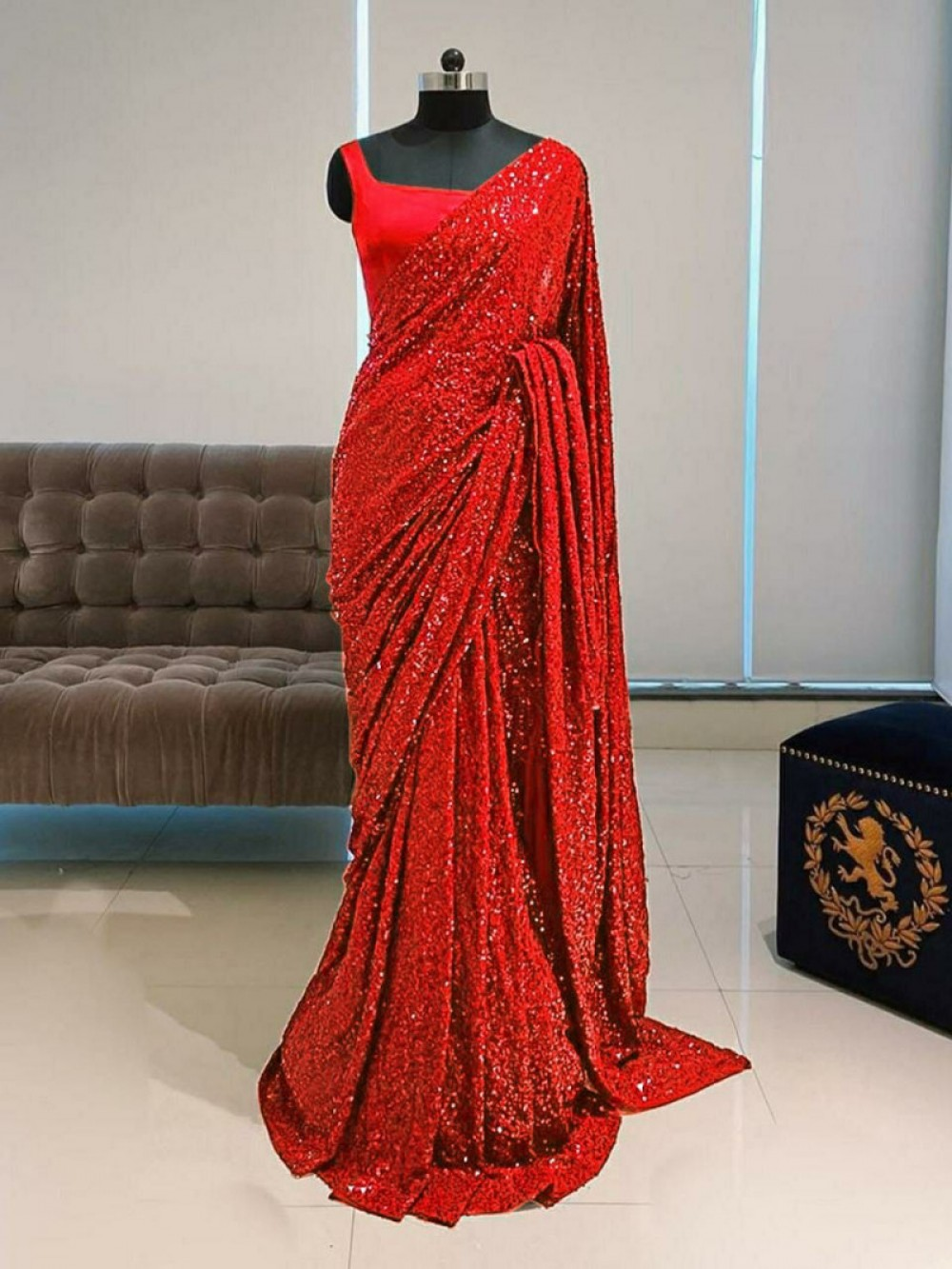 Classic Red Colour Sequence Worked Saree For Casual Wear
