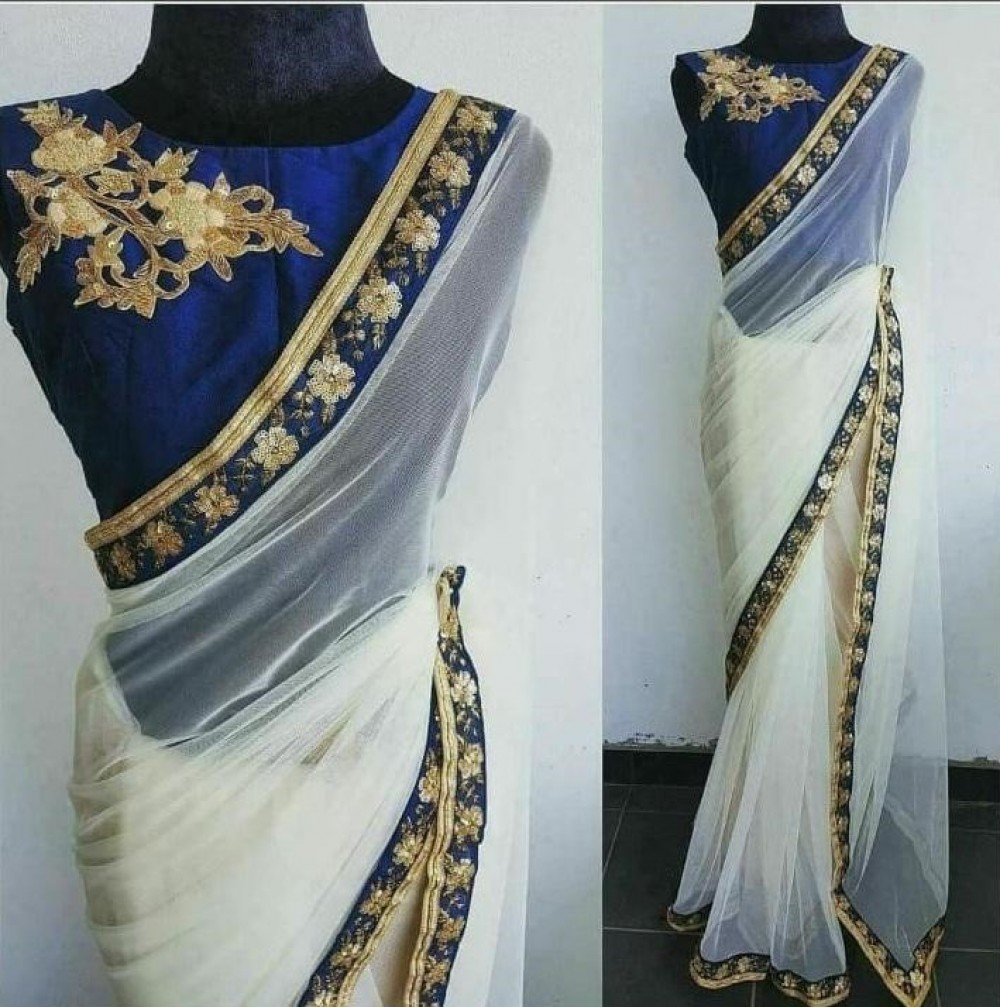 Pleasant Casual Wear White Colour Saree With Blouse