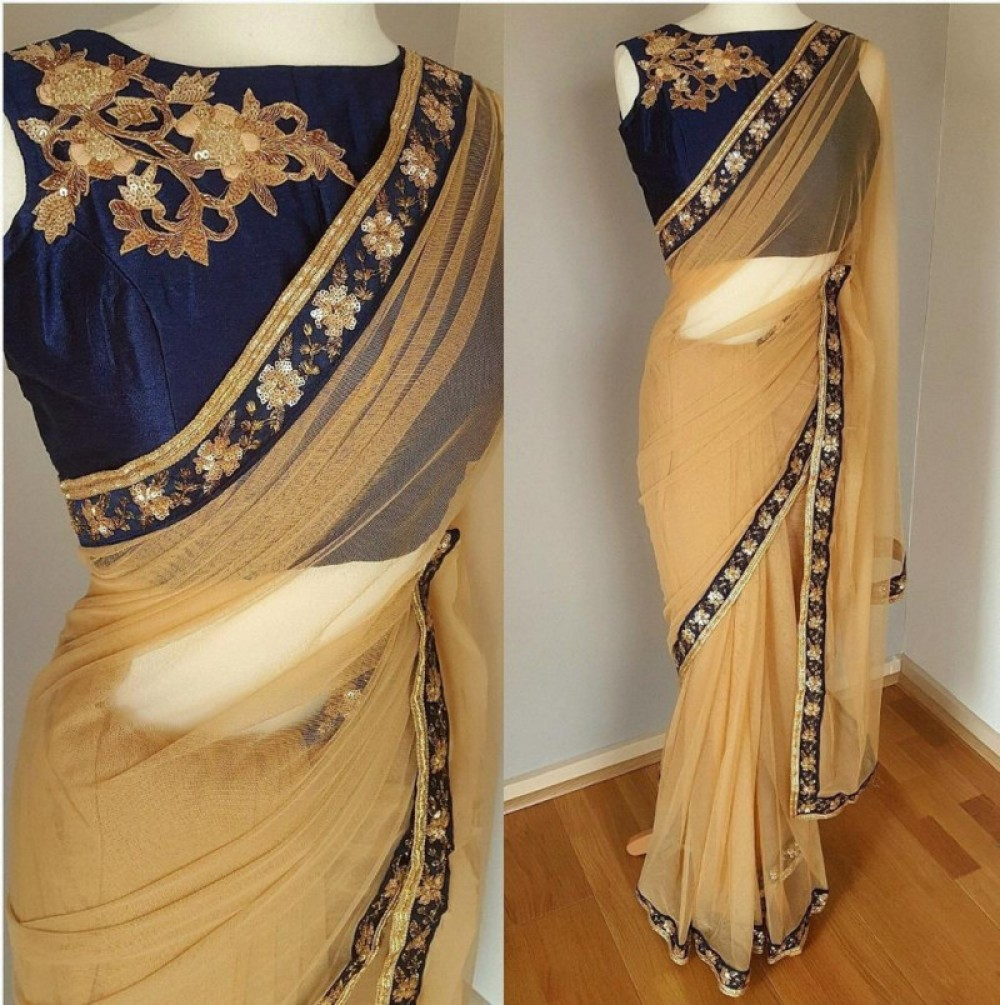 Precious Casual Wear Golden Saree With Embroidery Worked Lace
