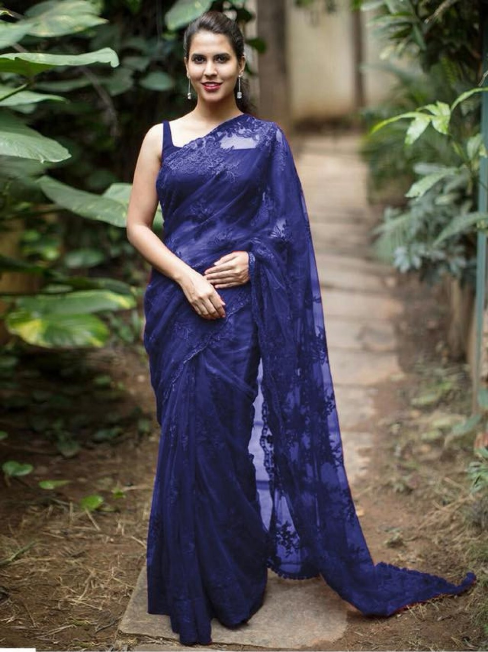 Beautiful Thread Worked Blue Colour Saree