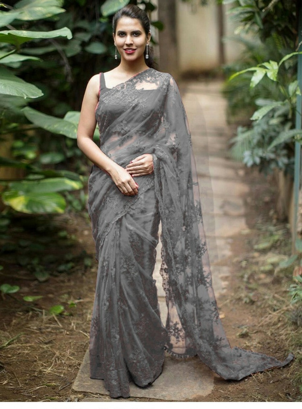 Blissful Grey Colour Saree