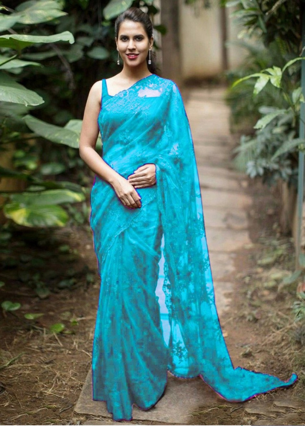 Capricious Sky Blue Colour Embroidery Worked Saree