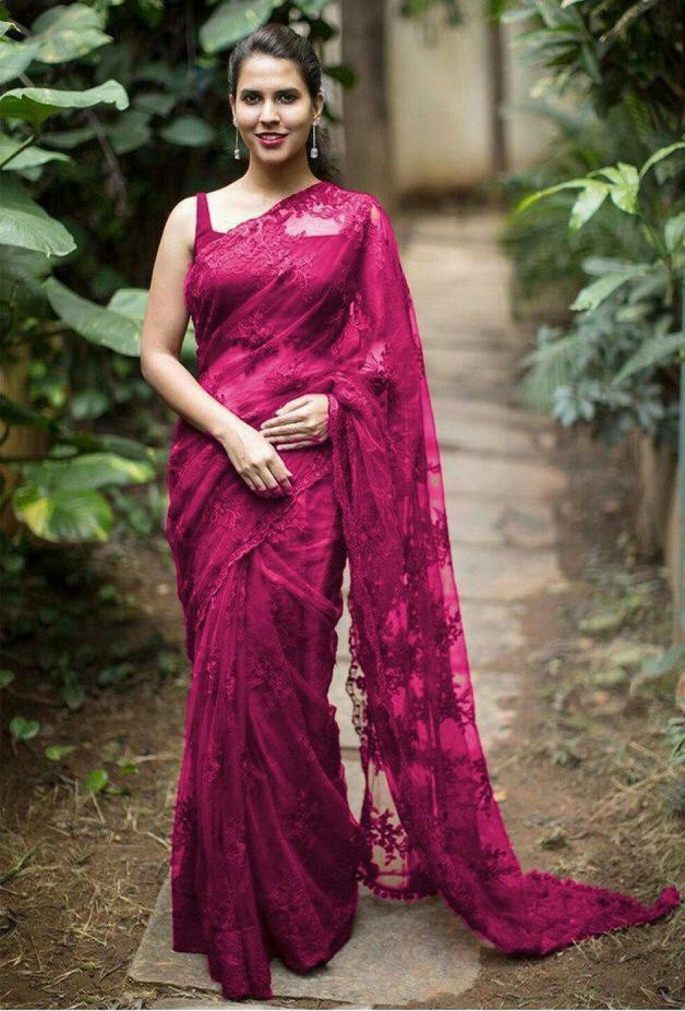 Captivating Collection Fancy Maroon Saree