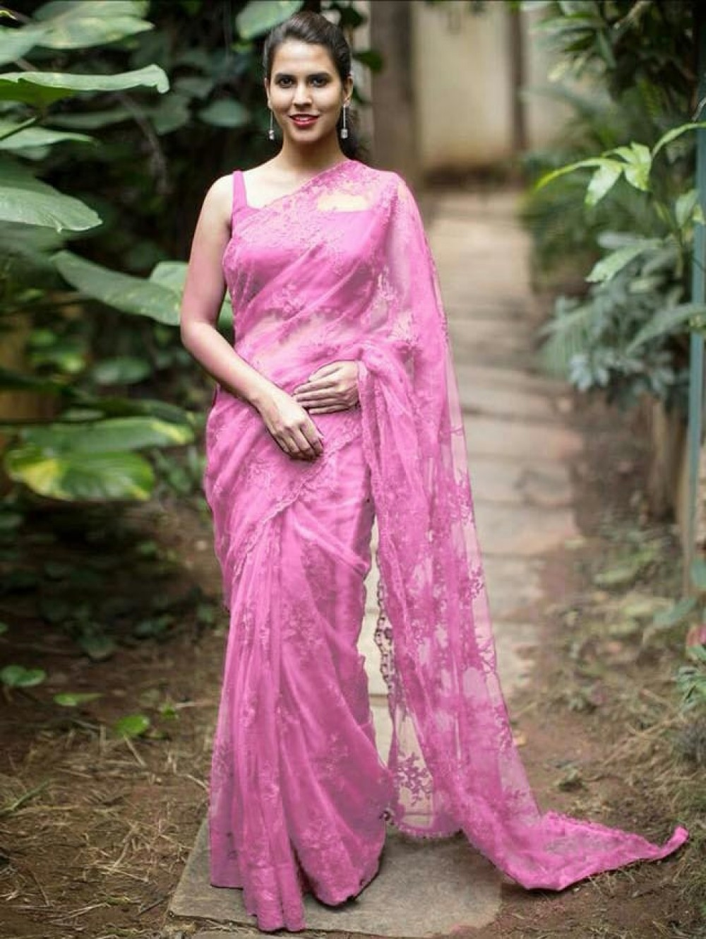 Celebrity Wear Pink Colour Embroidery Worked Saree