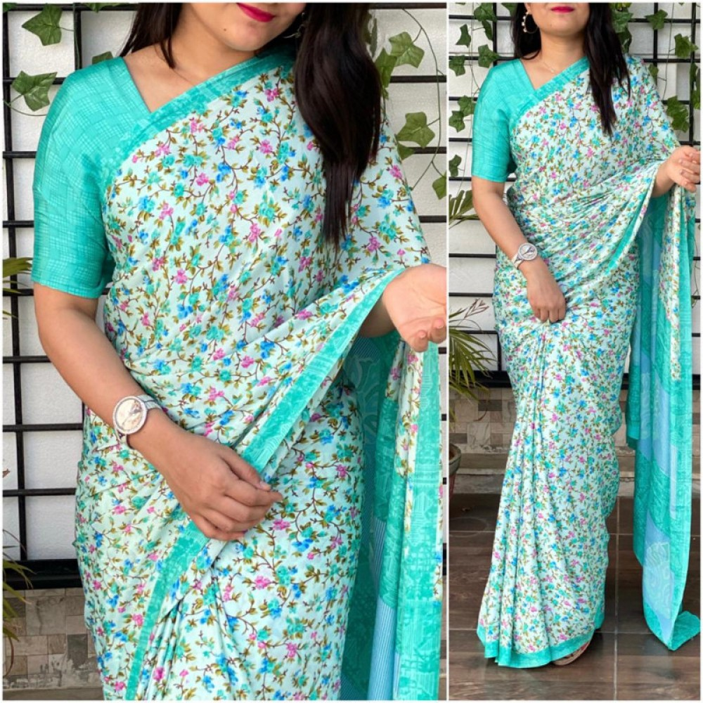 Captivating Casual Wear Bottel Green Colour Saree