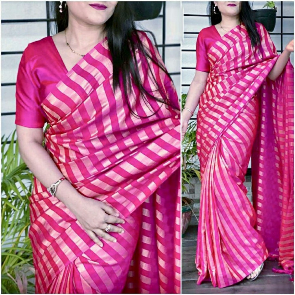 Classic Casual Wear Pink Colour Saree