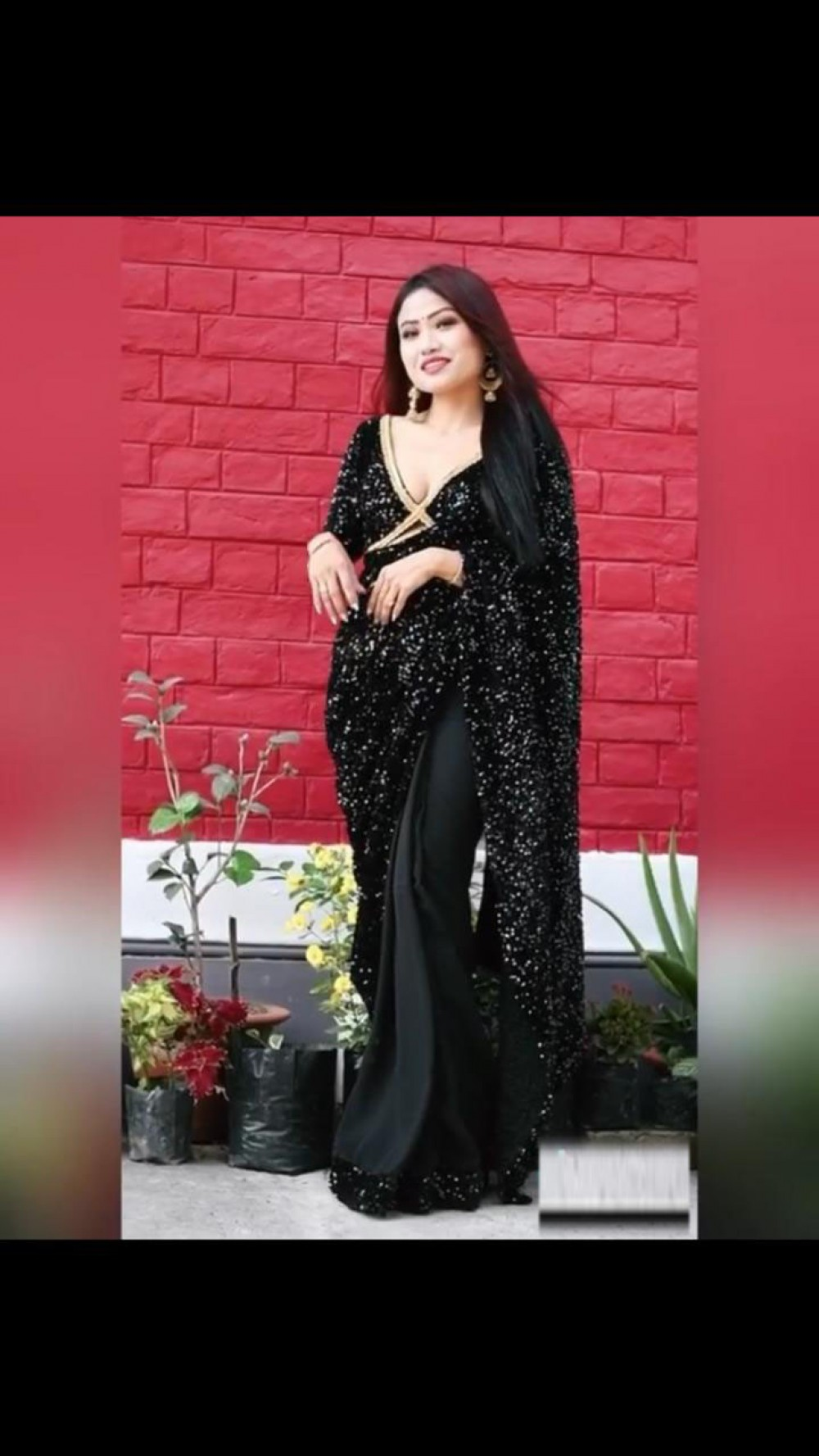 Lovely Fancy Black Colour Sequence Saree With Sequence Blouse