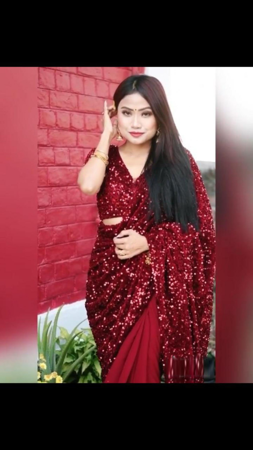 Majesty Maroon Sequence Saree