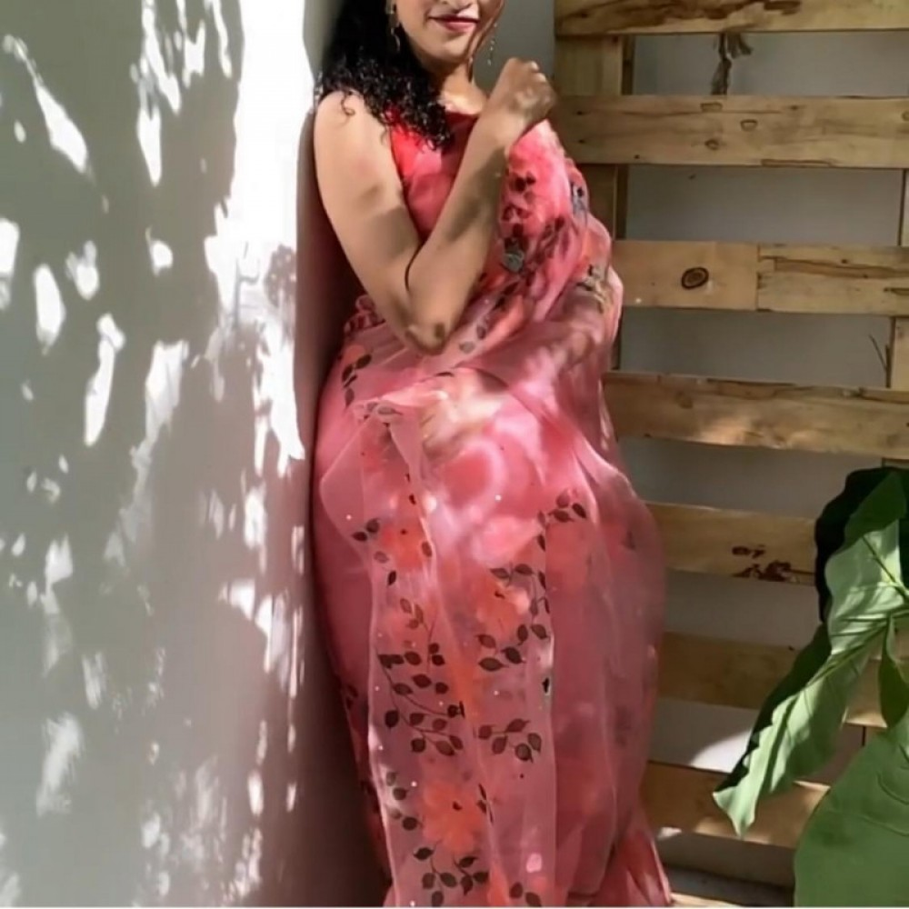 Opulent Peach Casual Wear Organza Saree With Blouse
