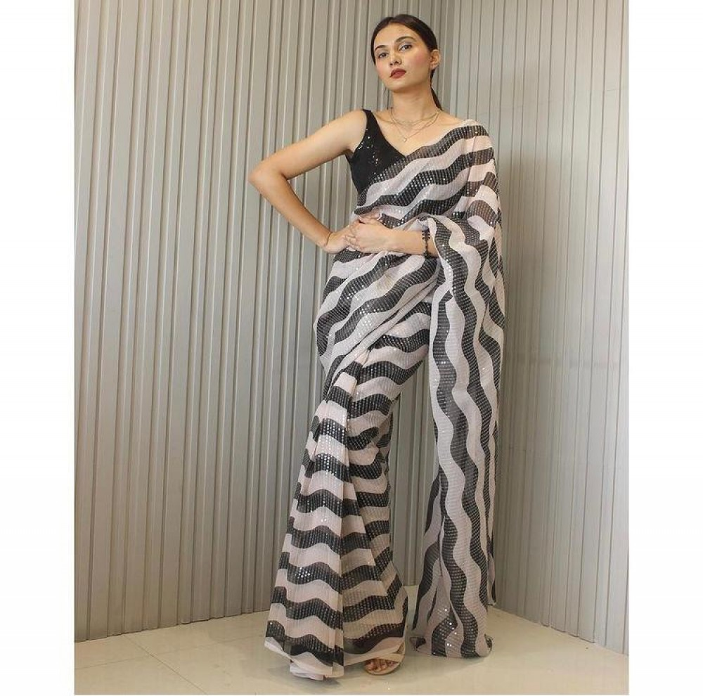 Preferable Black And White Colour Striped Sequence Saree Online