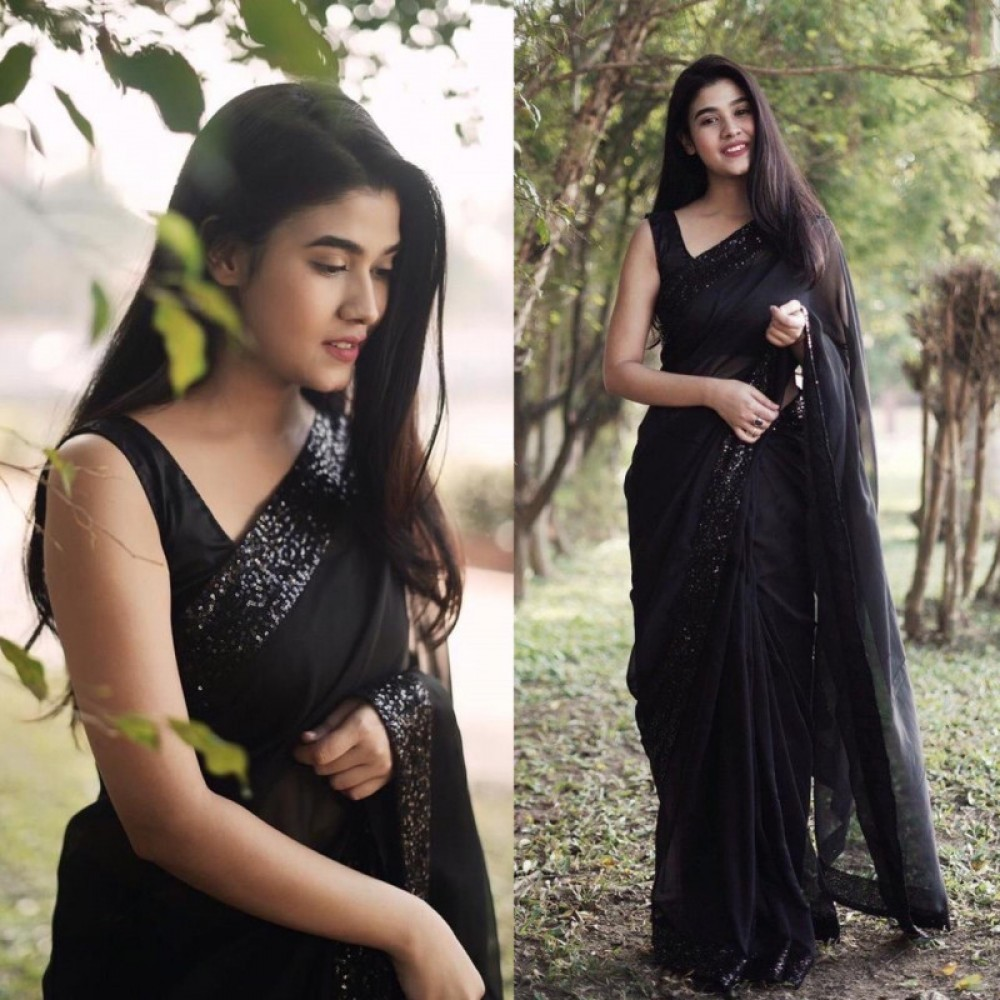Prominent Solid Black Colour Saree With Sequence Border