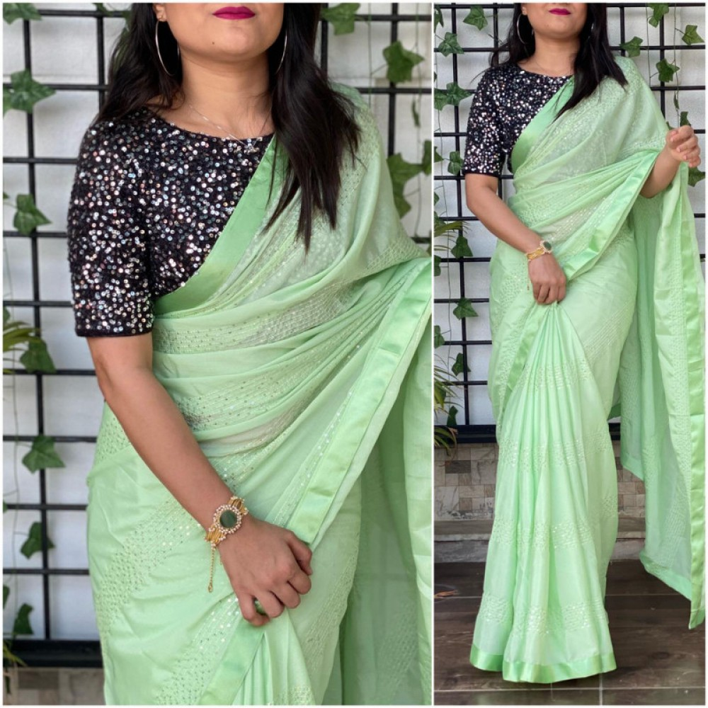 Stylee Lifestyle Onlion Green Colour Simple Saree
