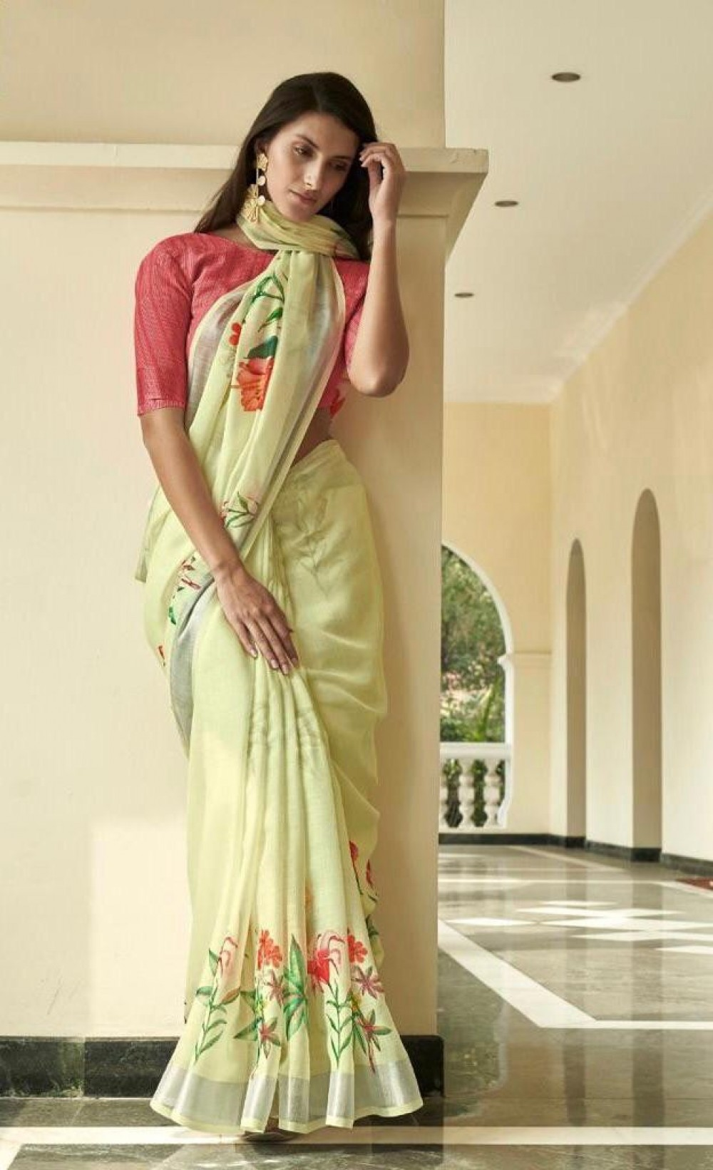 Blissful Simple Musterd Yellow Colour Saree With Cotton Saree