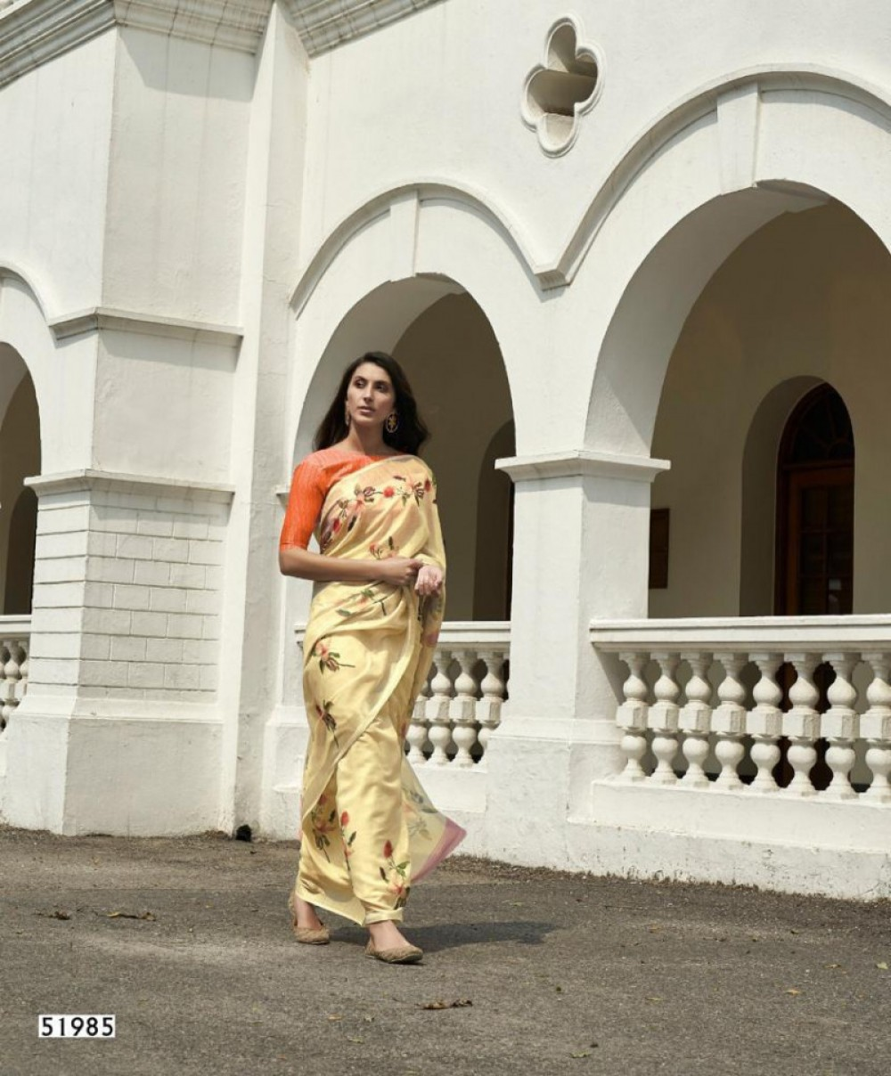 Blushing Fancy Printed Light Yellow Colour Saree
