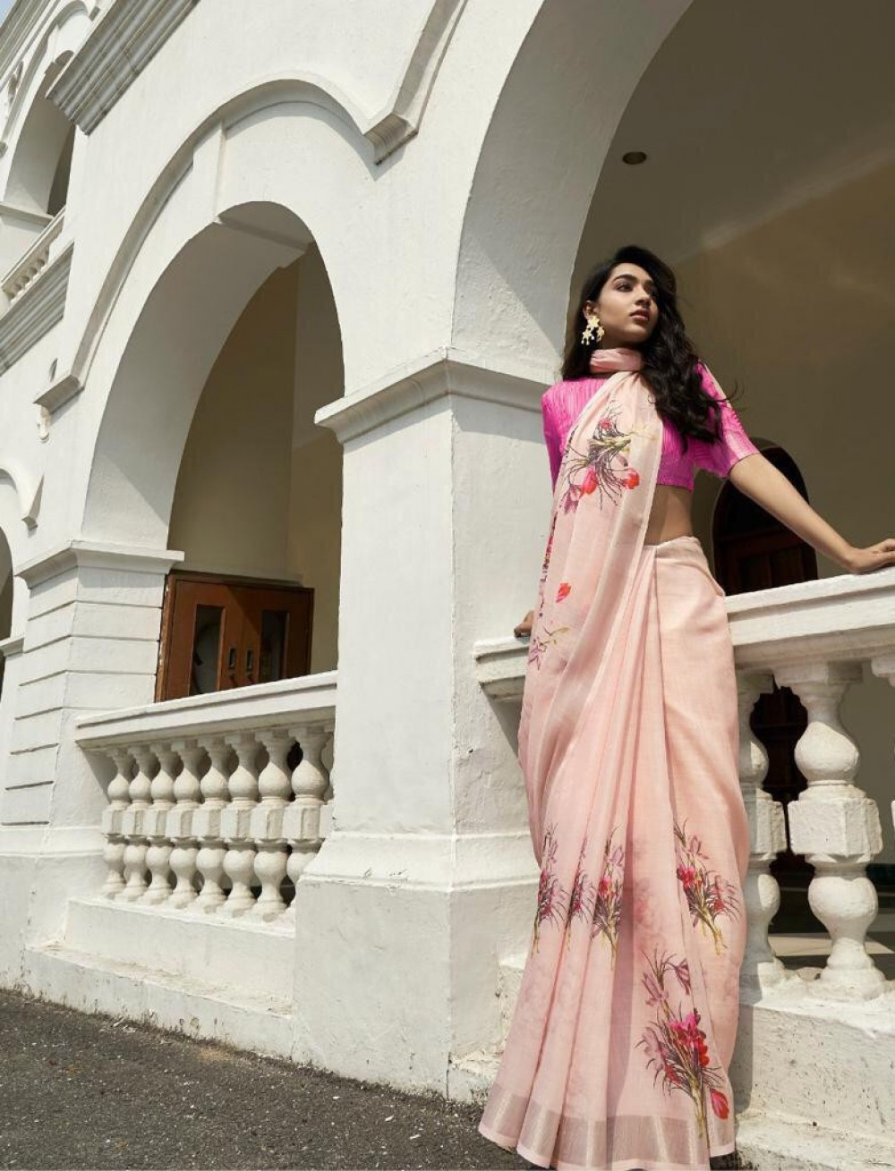 Breathtaking Light Peach Saree For Onlion