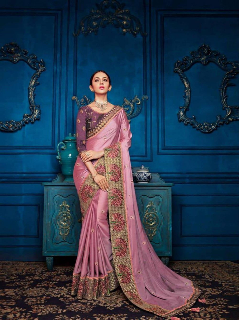Decent Peach Fancy Saree