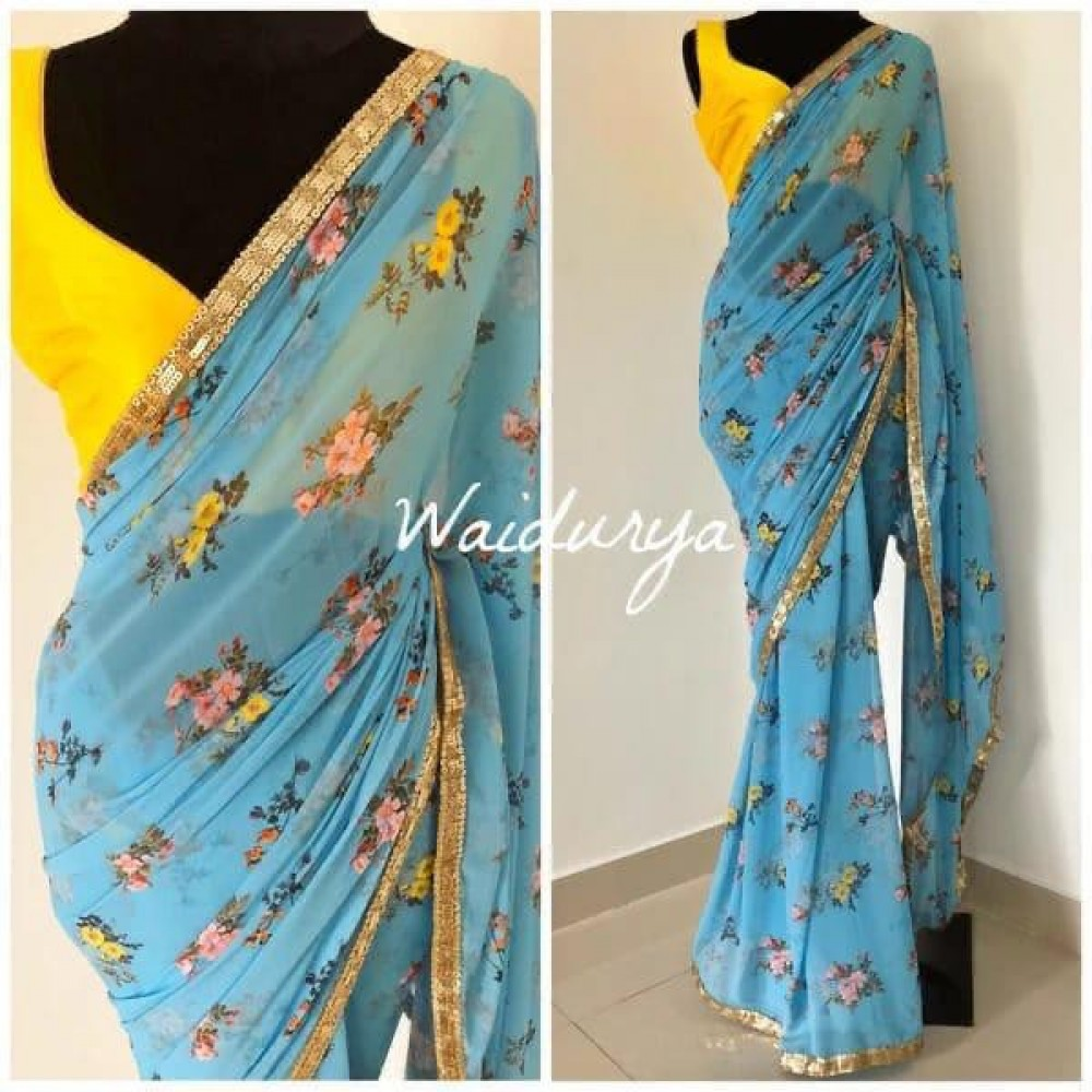 Delightful Onlion Law Price Sky Blue Colour Saree