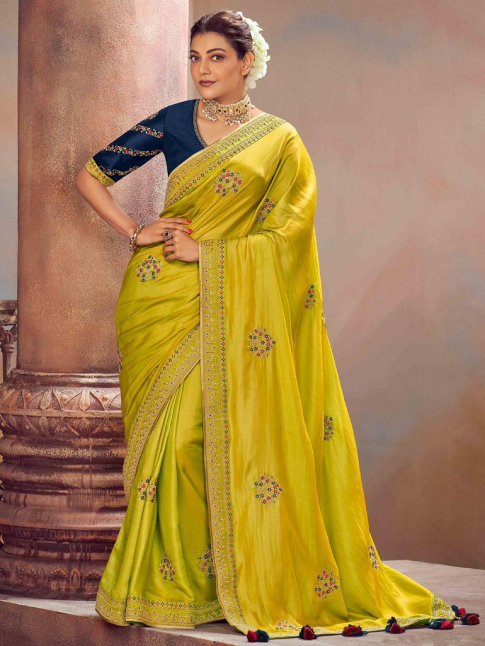 Demanding Musterd Yellow Colour Fancy Saree