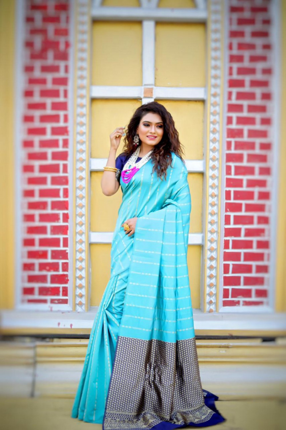 Intricate Sky Blue Colour Saree For Casual Wear