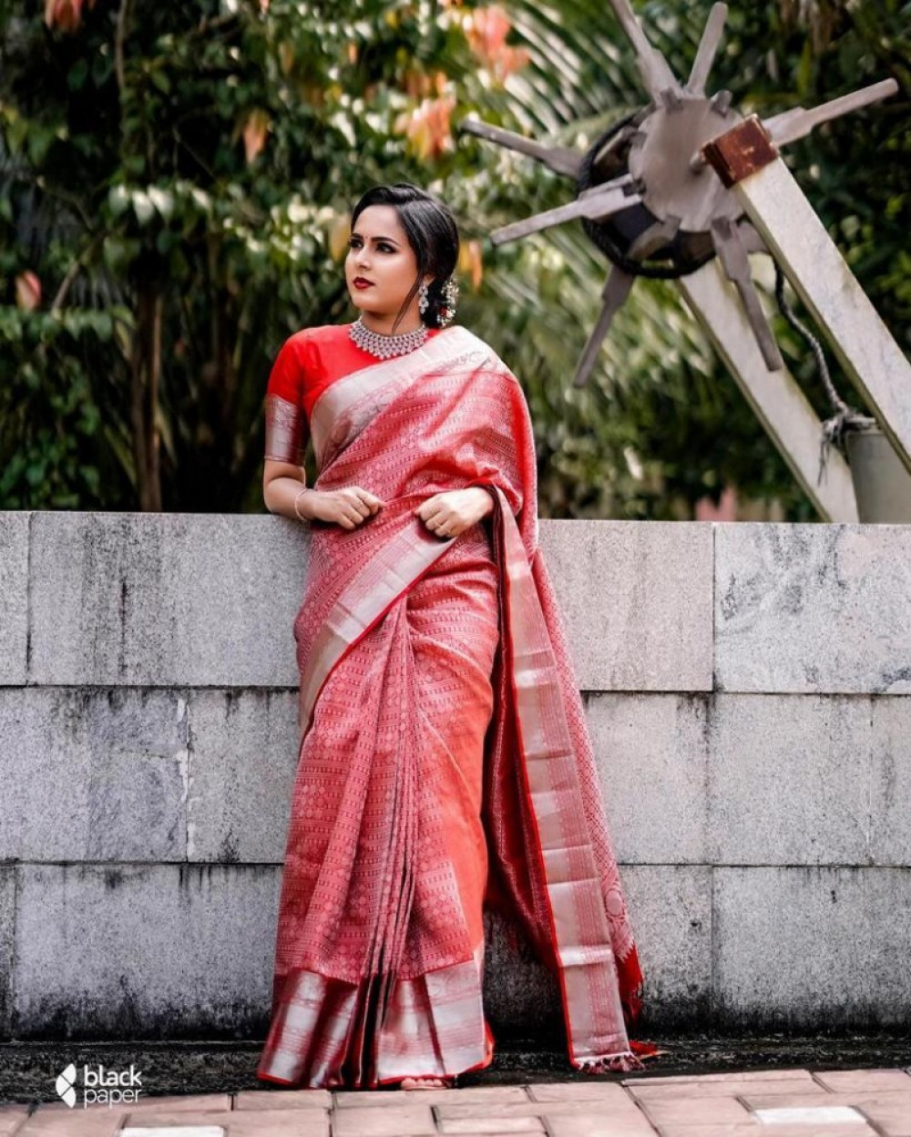 Mind Blowing Red Colour Casual Wear Saree