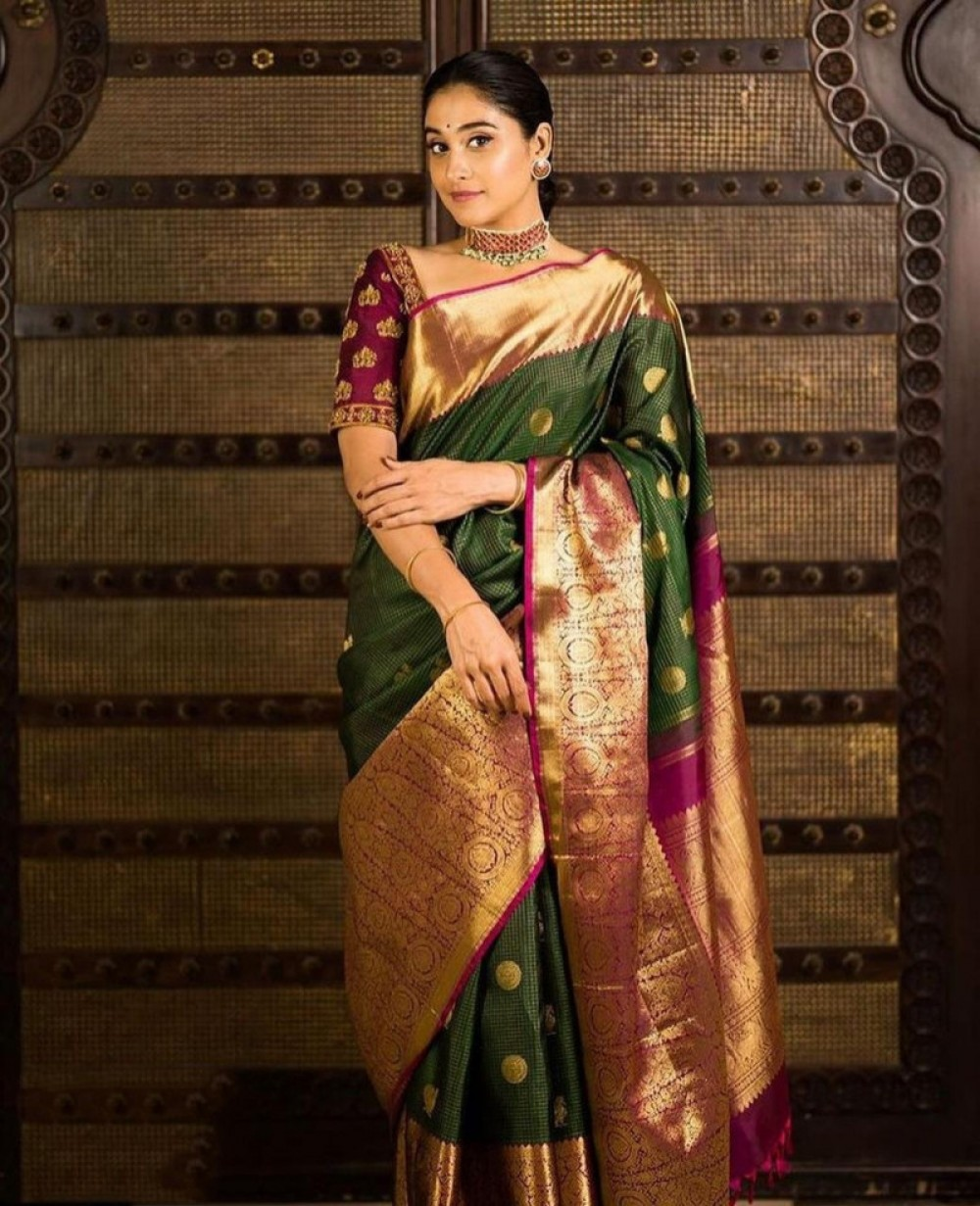 Precious Green Colour Fancy Saree