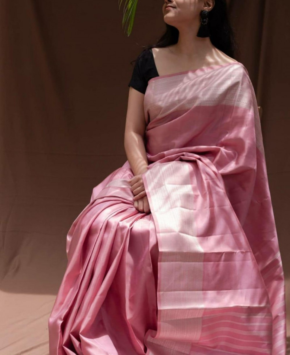 Prominent Light Pink Colour Fancy Jacquard Saree