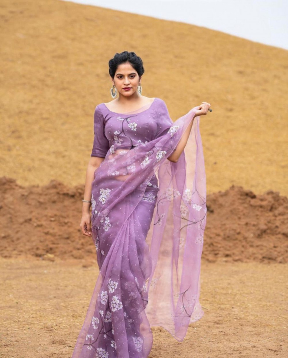 Radiant Classy Light Purple Colour Printed Organza Saree