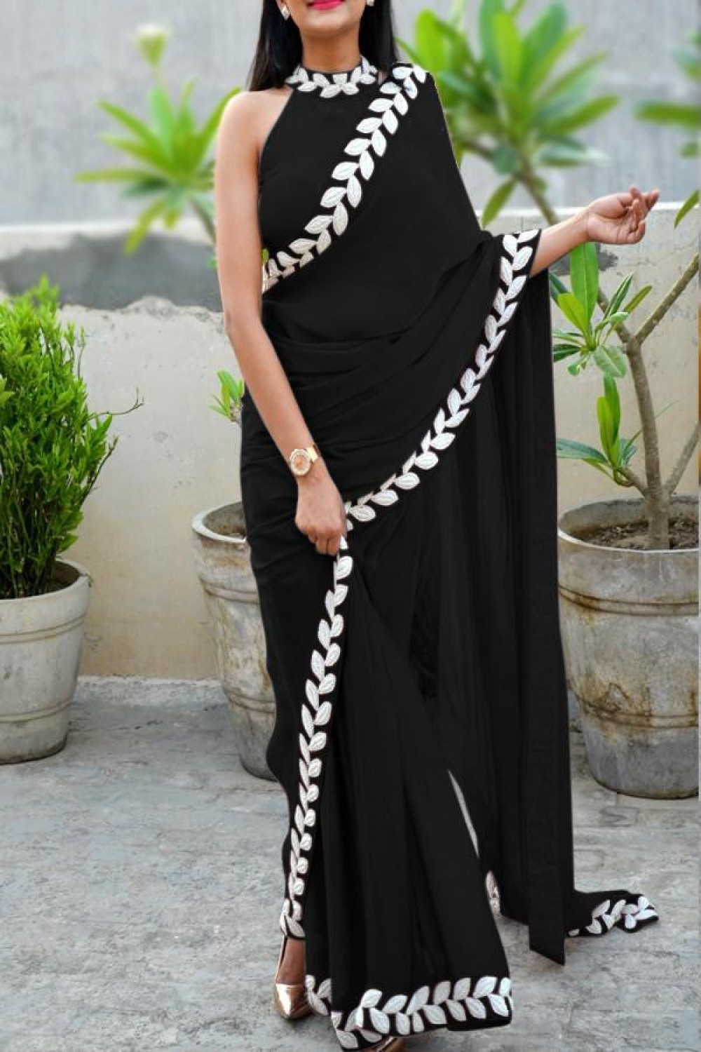 Stylish Appealing Black Saree With White Pattle Embroidery