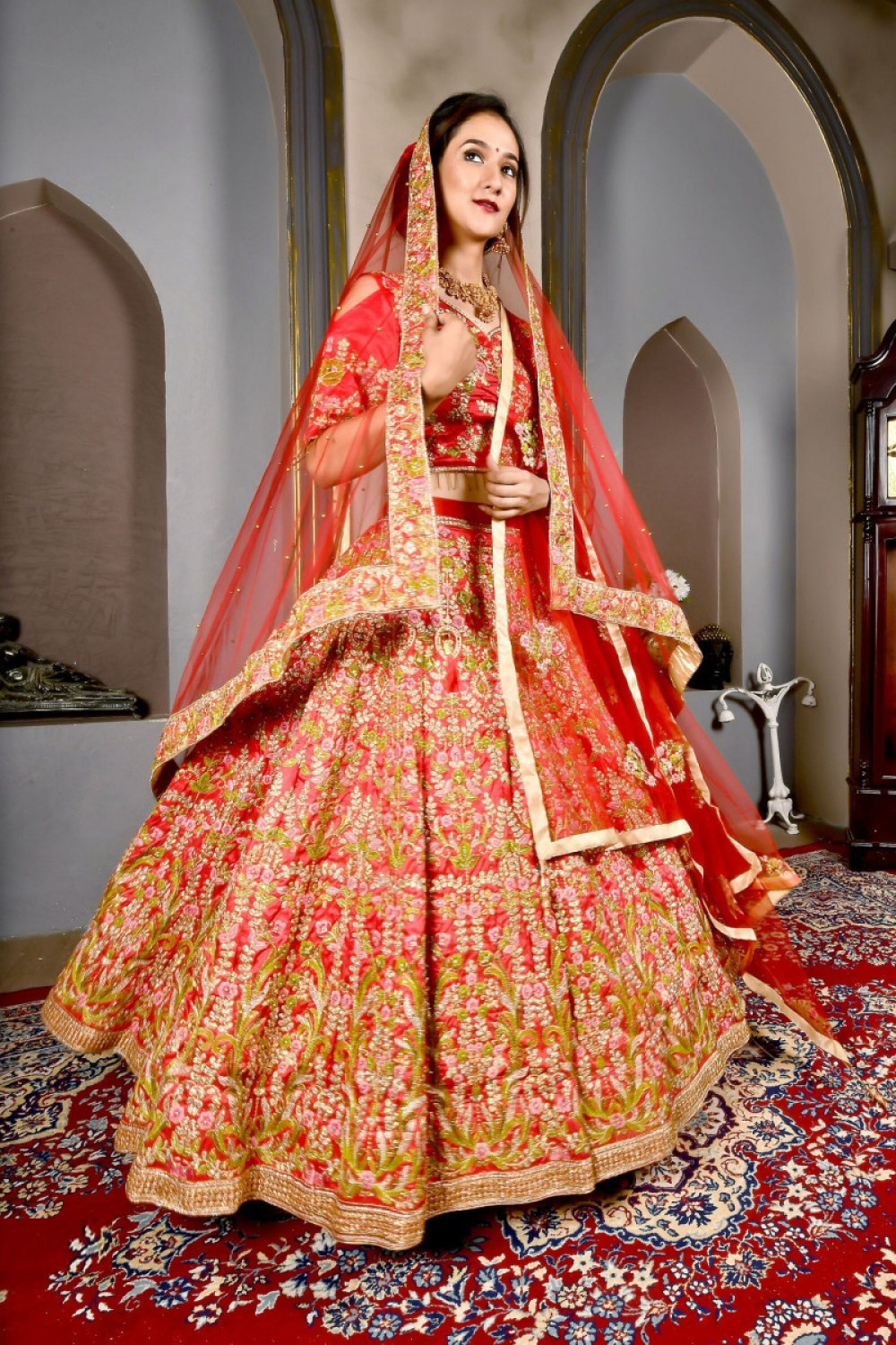 Fabulous Most Famous Candy Red Colour Bridal Wear Embroidered Lehenga Choli