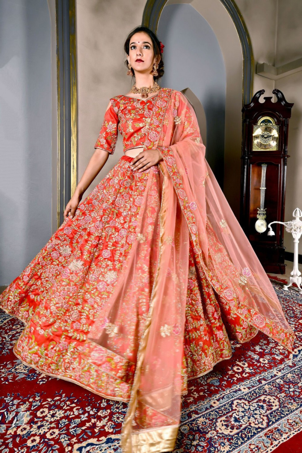 Fancy Most Famous Red Colour Bridal Wear Embroidered Lehenga Choli