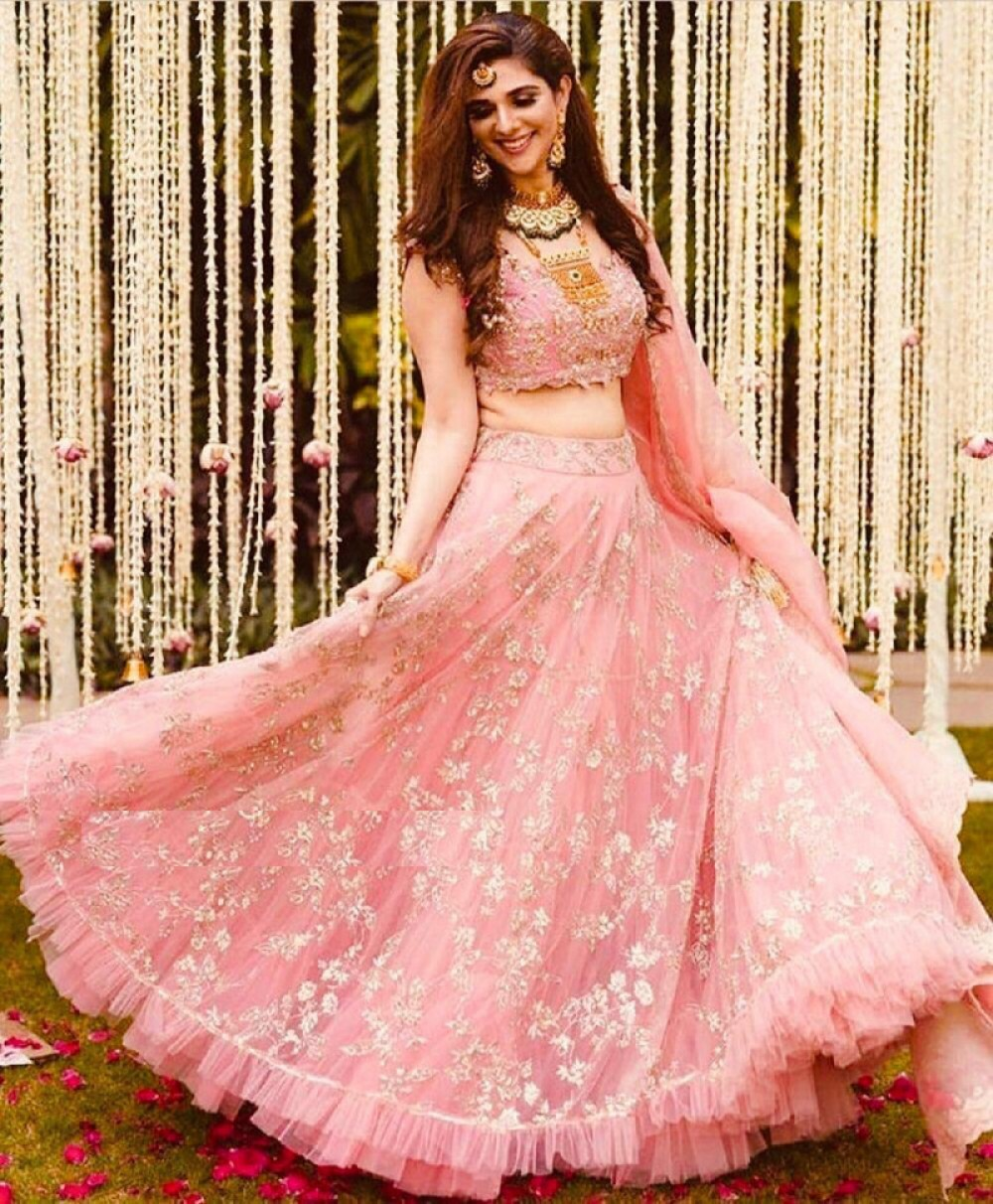 Meticulous Now Trending Light Pink Embroidered Lehenga like celebrity