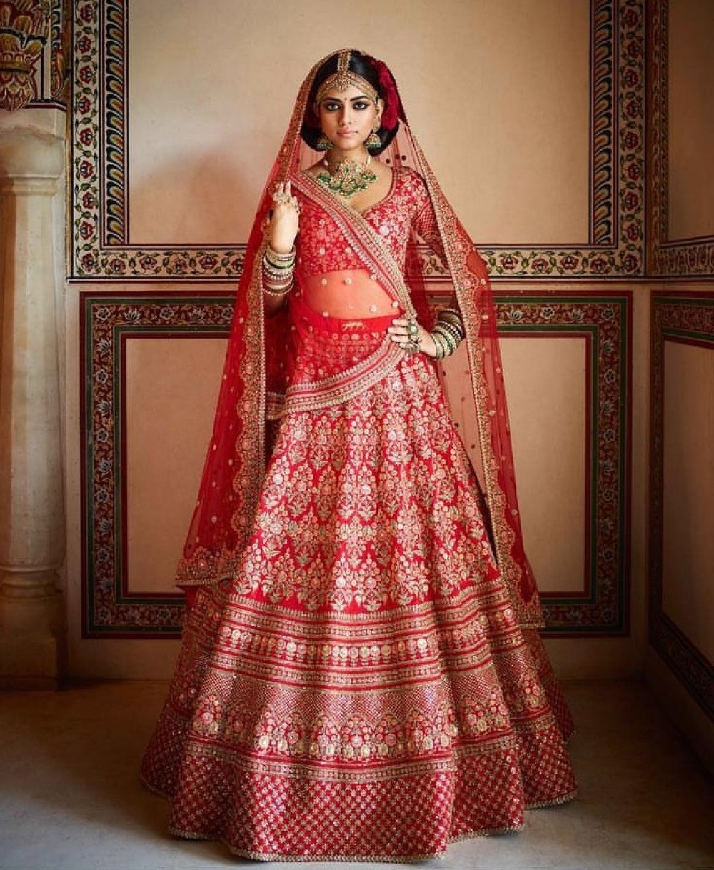 Glossy Celebrity Selection Red Colour Casual Wear Embroidery Lehenga Choli For Bride girl special