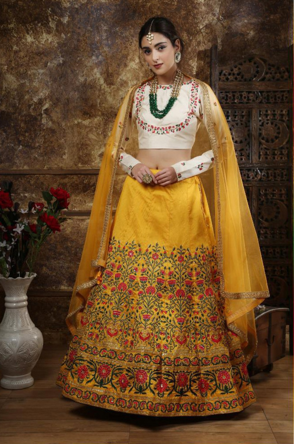 Mesmeric Most Favourite Mustered Colour Casual Wear Embroidered Lehenga Choli
