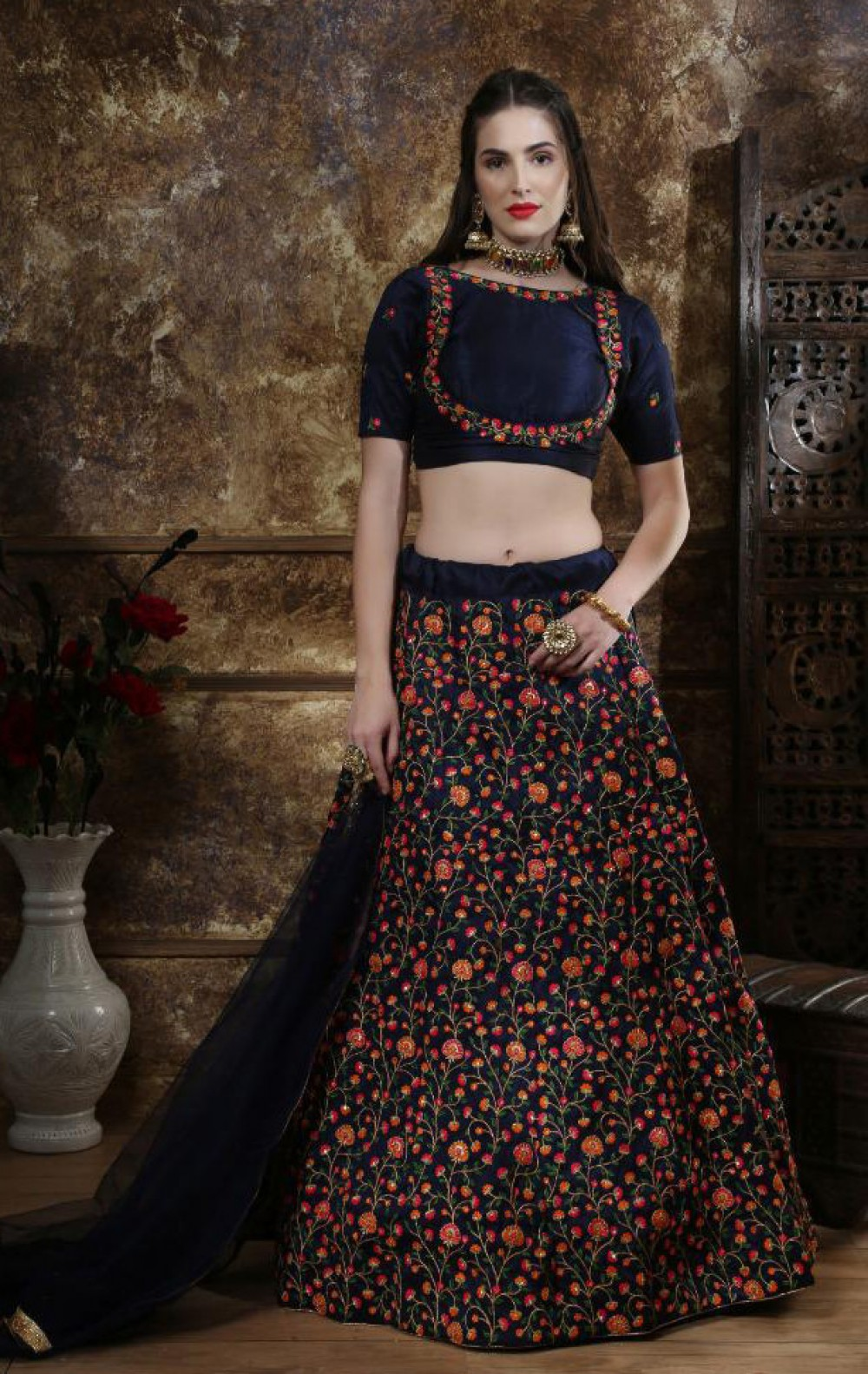 Mind Blowing Most Favourite Navy Blue Sequence Worked Festival Wear Lehenga Choli