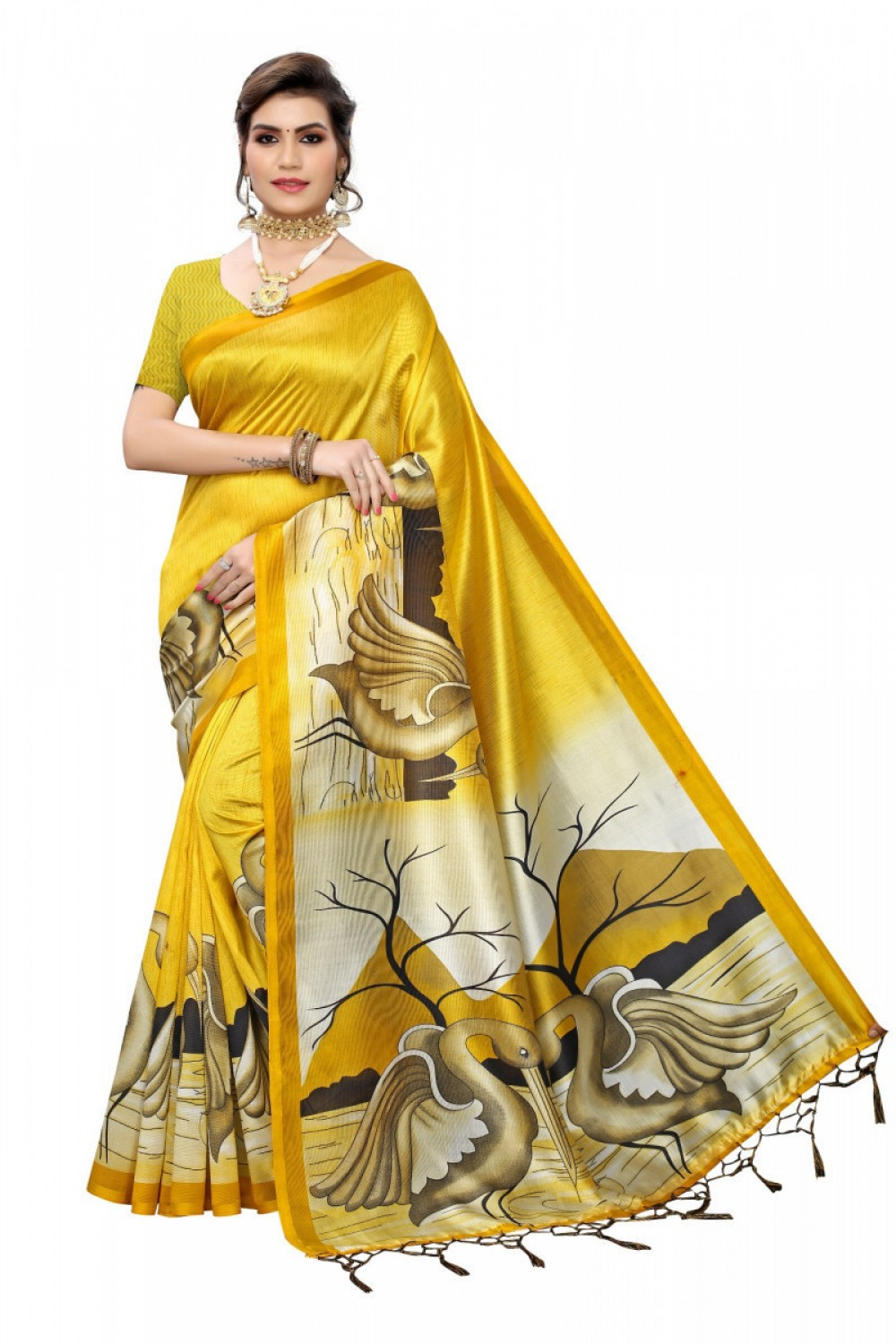 Beautiful Now Trending Yellow Colour Saree like celebrity