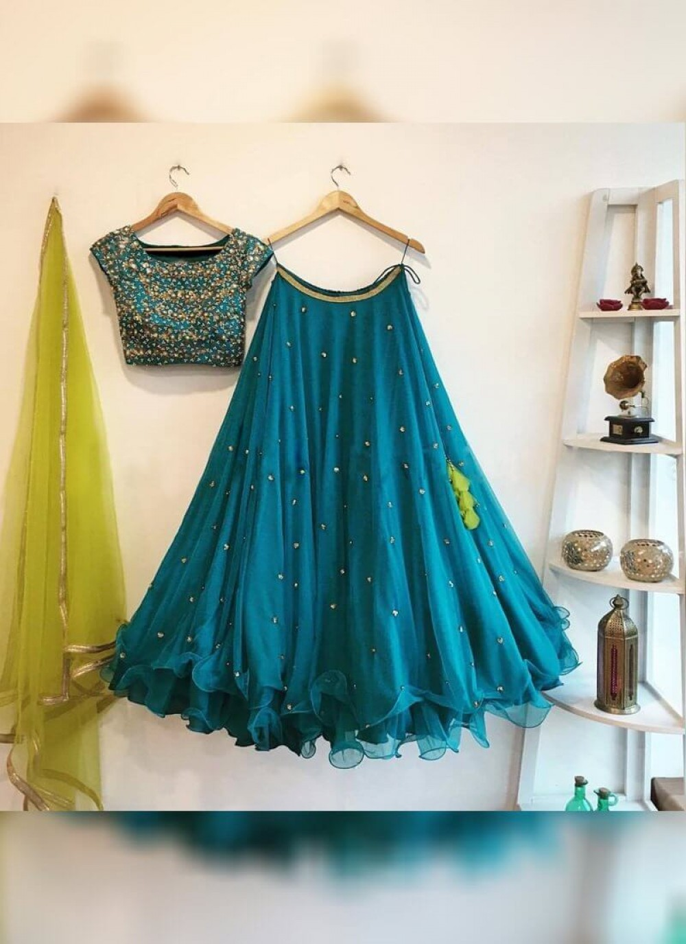 Gleaming Teal Blue Blue Colour Georgette Silk Embroidered Worked Lehenga Choli