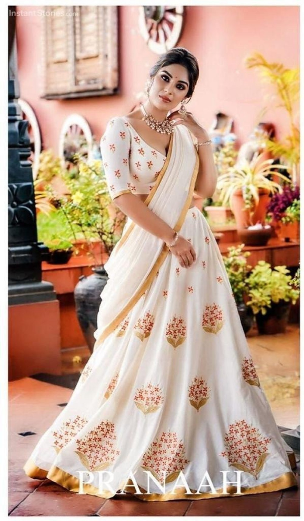 Pleasant Attractive Off White Georgette With Embroidered Casual Lehenga Choli