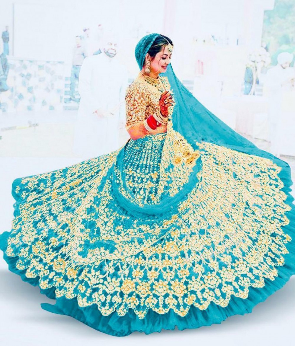 Prominent Casual Wear Sky Embroidered Lehenga