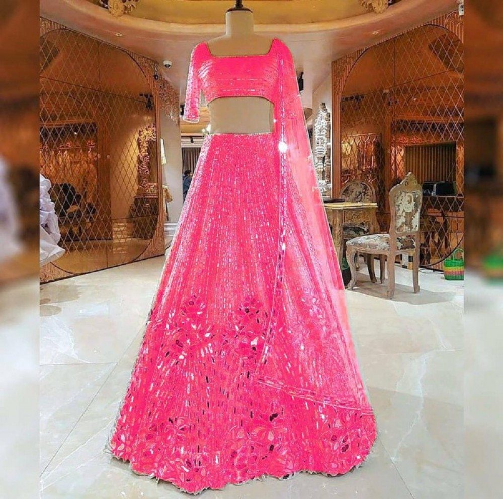 Blissful Pink Embroidery Foil Mirror Worked Casual Lehenga Choli