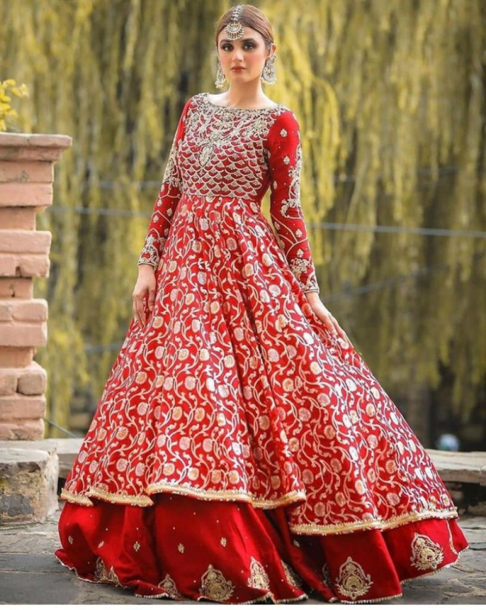 Charming Casual Red Embroidered Top With Lehenga