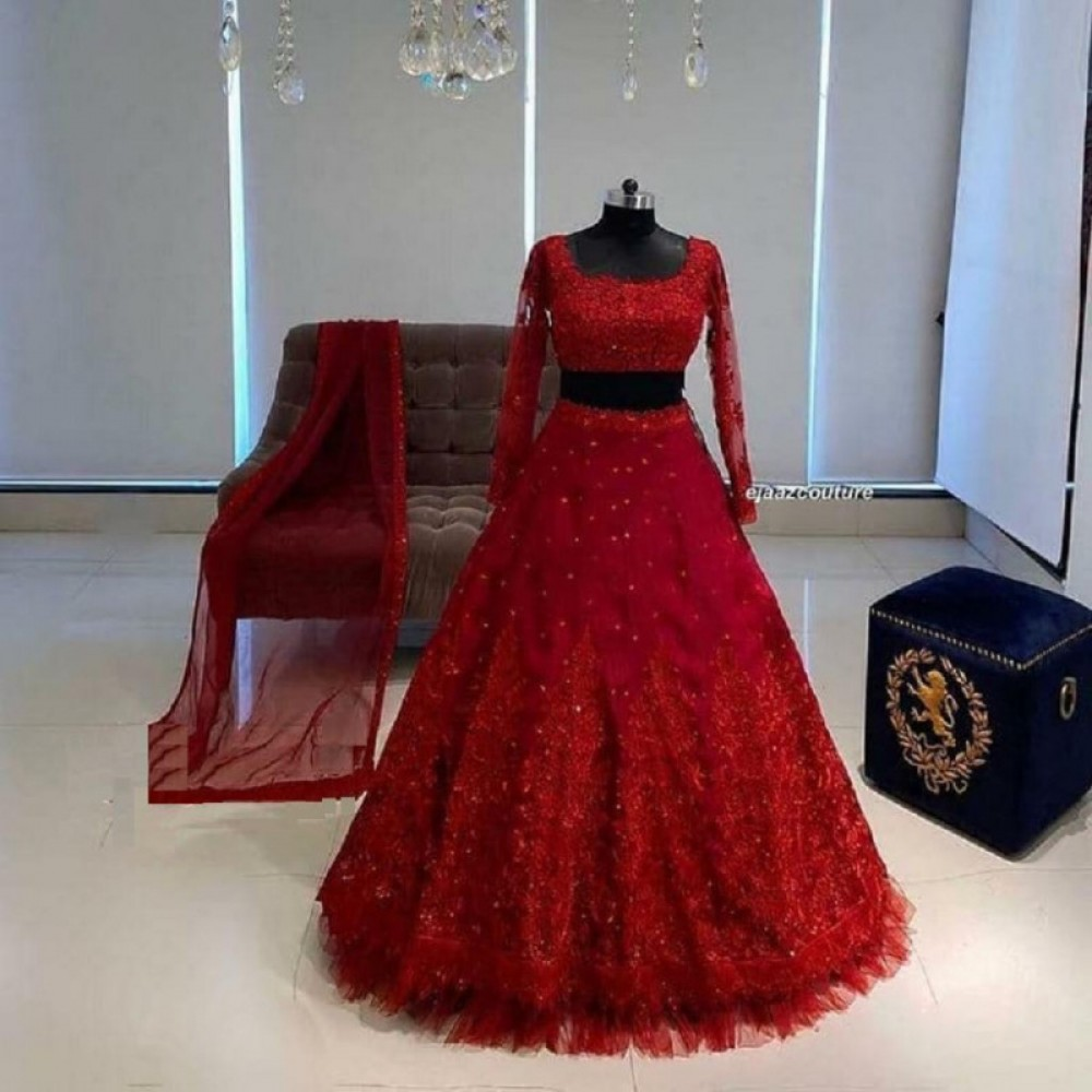 Desiring Red Lehenga Choli For Casual Wear