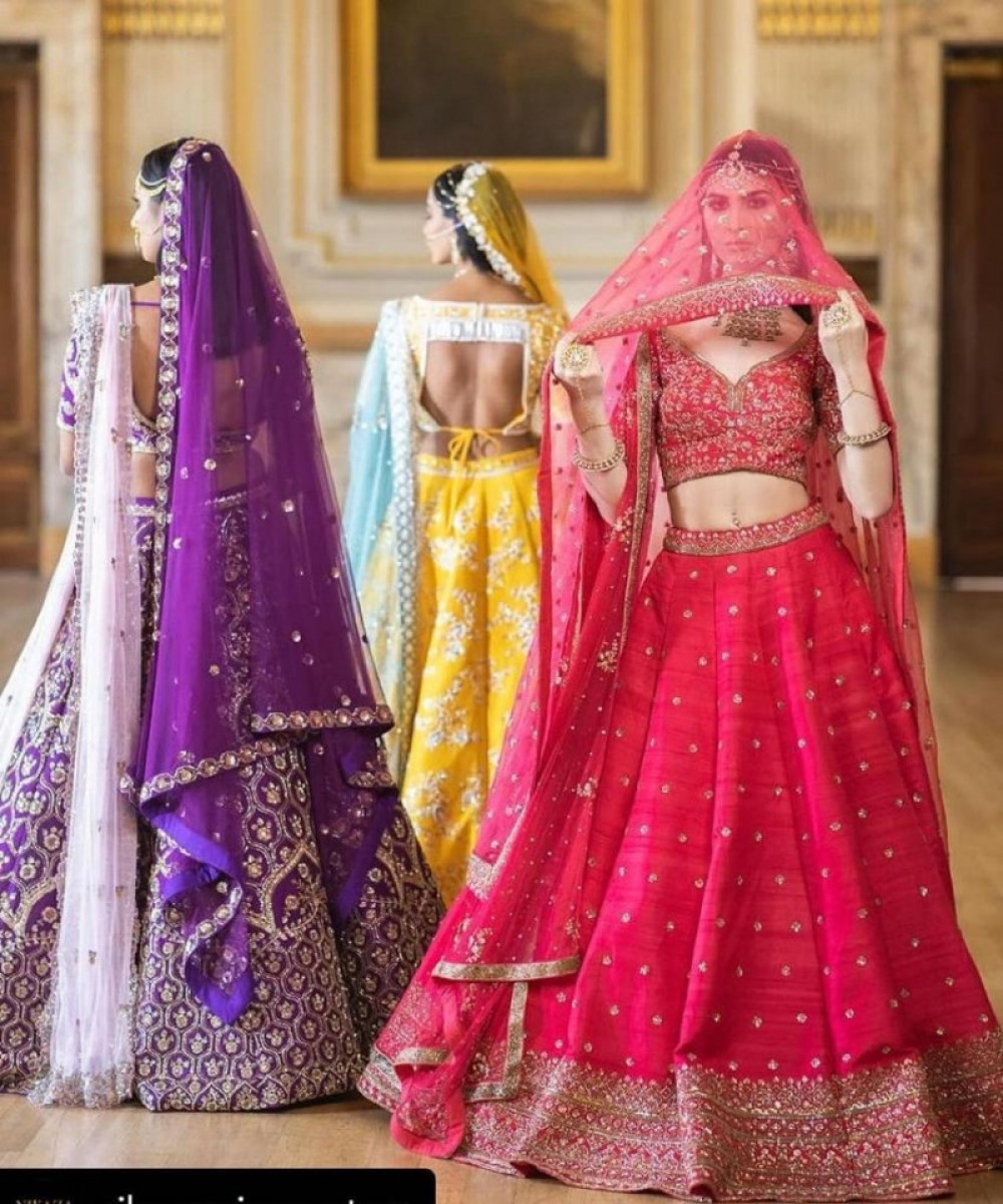Energetic Bridal Wear Red Lehenga Choli For Casual Wear