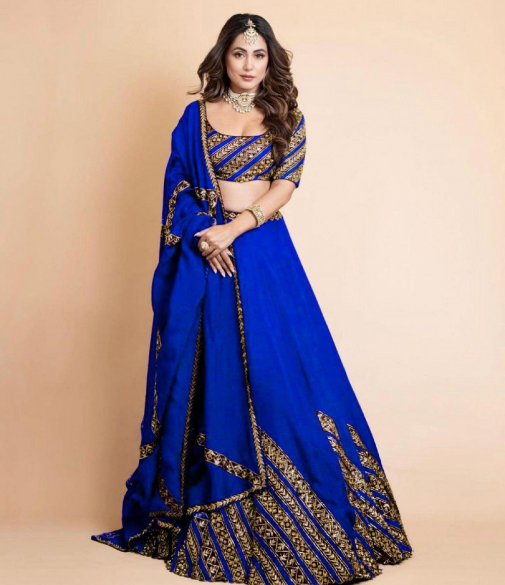 Exotic Heena Khan Blue Lehenga Choli