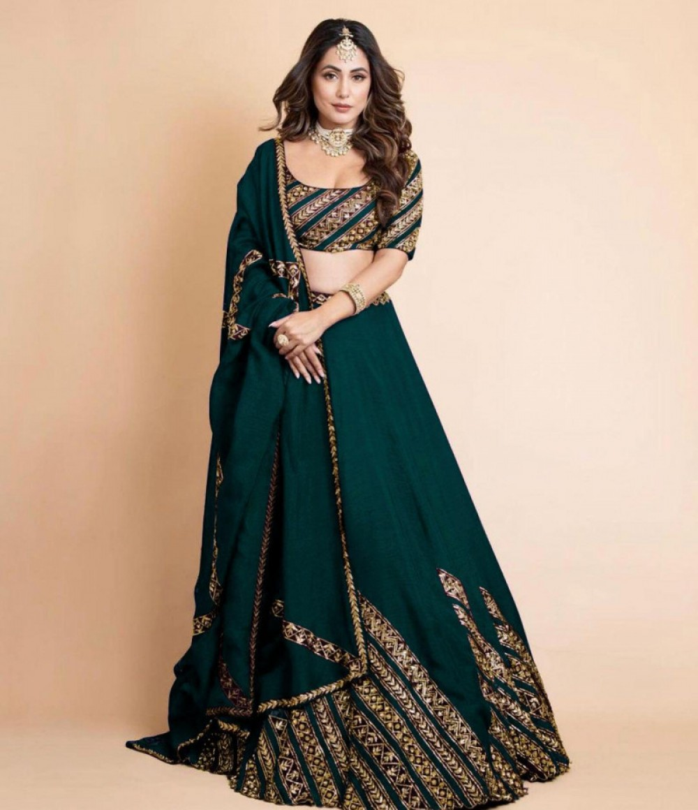 Eye catching Festival Wear Dark Green Sequnce Lehenga Choli