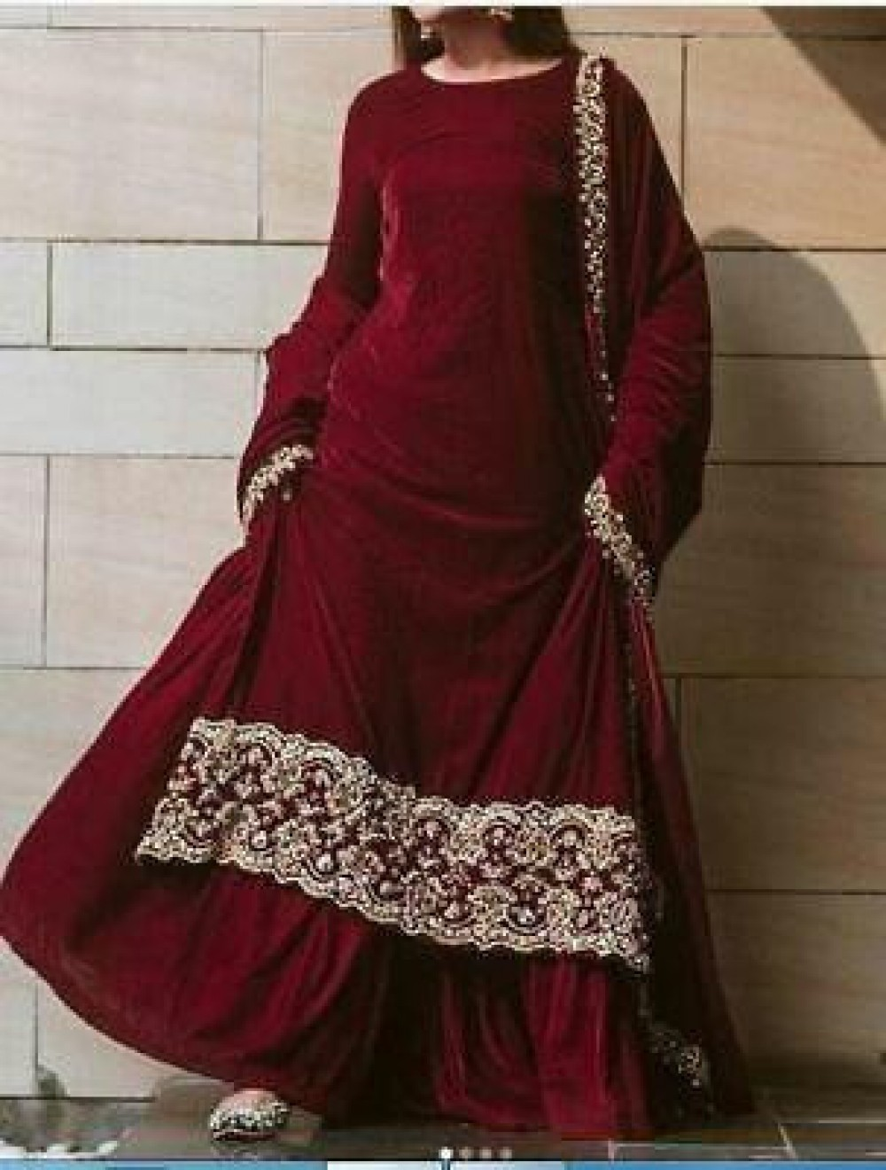 Fabulous Fancy Maroon Velvent Lehenga Top